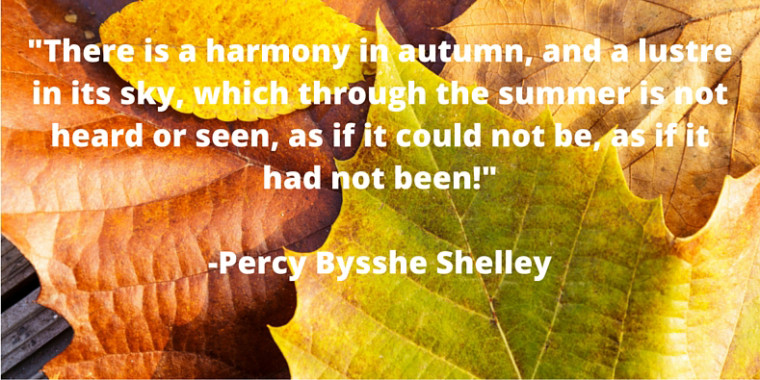 Quote-10-5 -There is a harmony in autumn, and a lustre in its sky, which through the summer is not heard or seen, as if it could not be, as if it had not been!--Percy Bysshe Shelley